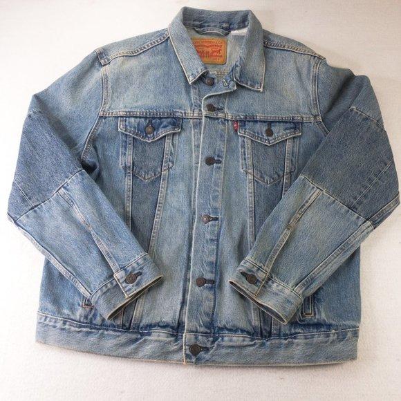 Levis Denim Jacket Mens Large Button Denim Jeans